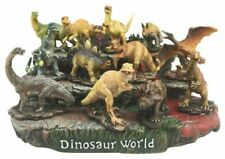 12 Miniature Prehistoric Dinosaurs With Volcanic Mountain Display Figurine Set L