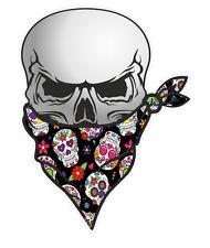 30cm Biker Teschio Con Bandana Viso & Messicano Sugar Skull modello Auto Adesivo