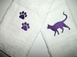 CAT & PAW PRINT EMBROIDERED, WHITE FACE CLOTHS, 2 PC SET,  BENEFITS Pets in need