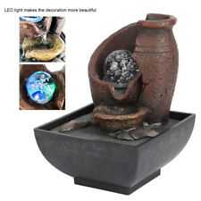 Rockery Water Fountain Air Humidifier Desktop LED Lamp Indoor Home Office Decor