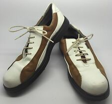 ECCO Leather Golf Shoes Women's Size 39 US 8.5 White Tan Gold Soft Cleats