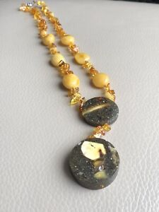 Amber Necklace Knotted Honey Egg Yolk Black Amber Spring Clip Clasp 22inch 29g