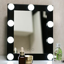 New Black Vanity Lighted Hollywood Makeup Mirror with Dimmer Stage Beauty Mirror