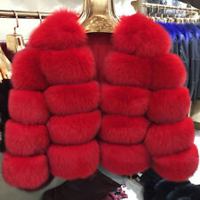 Women Coat Real Natural Fox Fur Winter Thick Warm Fashion Crop Jacket 5Rows61796
