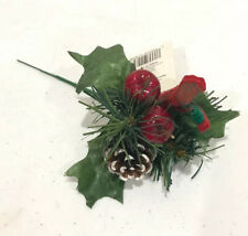 Christmas Pick Ornament Pine Cone Apple Ribbon Mistletoe By Holiday Style 8�