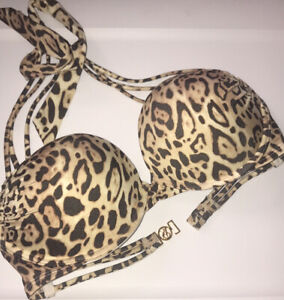 Victoria's Secret 32D Cheetah Black Bombshell Bikini Top Nwot