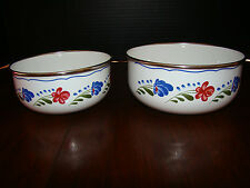 "Floral Metal Bowls - Two - Larger is Approx. 6 1/4"" - Smaller is Approx. 5 1/2"""