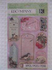 NEW K&Company Brenda Walton Grand Adhesions Flora & Fauna Dimensional Stickers