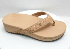 VIONIC HIGH TIDE Gold Cork Platform Comfort Sandal Flip Flops Women's Size 7 W