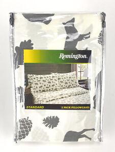 "Remington 2 Pillowcases Standard 20"" x 30""  White Gray Moose Pinecone Bears New"