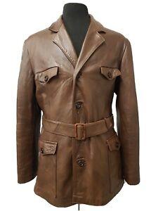 Vtg 1970s Leather Safari Jacket Medium