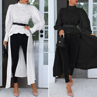 Women Button Down Long Sleeve Pleated Tops Ladies Casual Irregular Blouse Jumper
