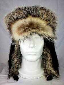 Men's Badger and Beaver Fur Trapper Hat.  Size 2XL/ XL