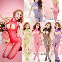Valentine Sexy Lingerie OpenBust Cupless BackOpen+CrotchNet BodyStocking Catsuit