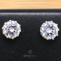Large 1.5Ct Round Cubic Zirconia Earring Women Jewelry 14K White Gold Plated