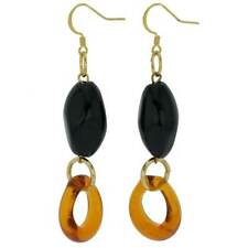 - Black And Golden Brown GlassOfVenice Murano Glass Saturn Earrings