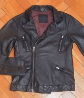 AllSaints Men's Black PEYTO Leather Biker Jacket Small