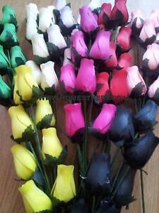Wooden Roses Bouquet Dyed Closed Bud Rose stems Choose Colours & amount required