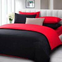 1000 TC Egyptian Cotton Reversible Duvet Collection All Sizes Black & Red