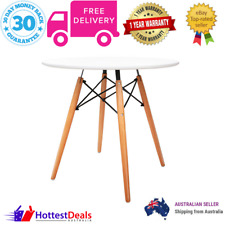 Dining Table Eames Inspired Kitchen Cafe Coffee Round Wooden White Quality Style