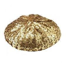 Gold Sequin Basco Hat Beret Disco Diva Fancy Dress Party Costume Headwear