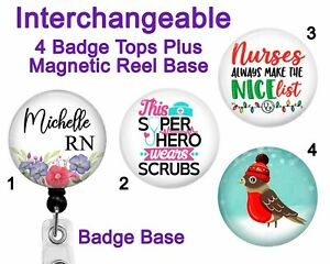 Nurse Badge Reel Holder Interchangeable 4 Swappable Tops ~ Magnet Magnetic Badge