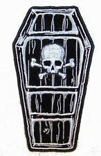 COFFIN SKULL AND CROSS BONES PATCH P7300 NEW jacket patches BIKER EMBROIDERIED