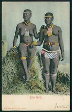 Africa black nude Zulu Girl woman beads ornaments original 1900s postcard stamps
