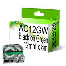 2 x Compatible AC12GW Black on Green NON-OEM For Epson Label Tapes 12mm x 8m