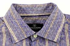 BUGATCHI UOMO Mens Purple Paisley Large Button Front Sport Shirt MSRP $149