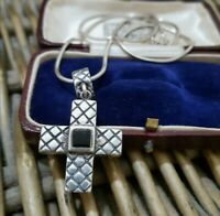 Vintage Sterling Silver Necklace, Black Onyx Cross Pendant, 18 Inch Chain, 15gr