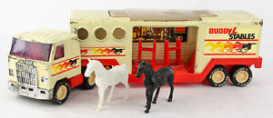 Rare Vintage 1980s Buddy L Stables Mack Tractor & Horse Trailer - White Variant