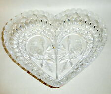 "Vintage 1970's W. Germany Hofbauer Byrdes 9"" Clear Cut Crystal Heart Dish"