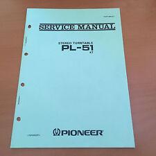 Pioneer PL-51 (KT) Turntable Repair / Service Manual Factory Original Rare!