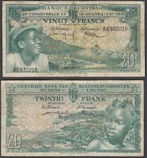 Belgian Congo 20 Francs 1957 (F) Condition Banknote P-31