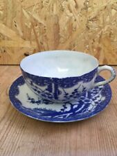 Vintage Japanese Transparent Cup & Soucoupe-Blue & White