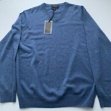 Mantovani Studio Italy Men's 100% Italian Cashmere V-Neck Sweater- Blue Sz XL