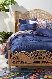 NWT Anthropologie Embroidered Geo King Quilt With King And Euro Shams In Navy