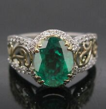 14KT White Gold 1.85 Carat Natural Green Emerald EGL Certified Diamond Ring