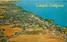 1960s Unposted Chrome Postcard Air View Lakeport CA Clear Lake, Lake County