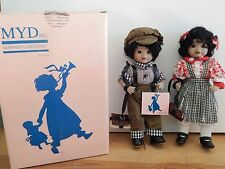 "Rare 12"" Porcelain Brother Sister Set by Marian Yu Design Myd Dolls - New"