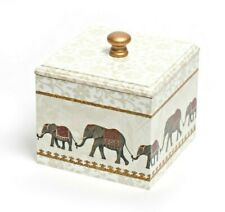 Elephant Trinket Box Wooden Handmade decoupaged square