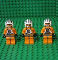 Lot 3 Lego Star Wars Minifigures Rebel Pilot X-Wing Y-wing Zev Senesca minifig K