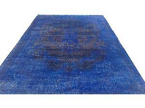 "9 '1""x5'9"" Vintage midnight  royal dark electric BLUE  Overdyed rug carpet tapis"