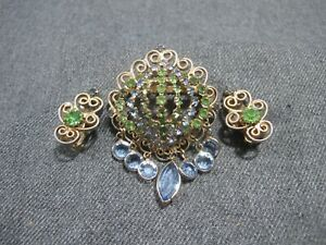 Vintage unsigned Hobe? crystals filigree pin brooch w dangles + clip earrings