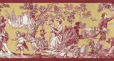 Toile Wallpaper Border Country Red Gold White Rosedale WPB356-3 FREE SHIP
