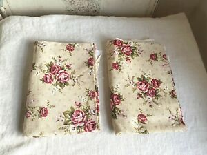 Vintage French Fabric Pink White Floral Textile Roses Bouquets Furnishings 90 cm