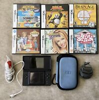 Nintendo DS Lite Black Bundle with Charger & Case & 6 Games TESTED *GREAT*
