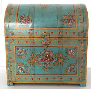 Vintage Indian painted alcohol chest, bohemian, decorative, storage, folk art.