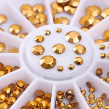 Gold 3D Nagel Strass Stud Glitzersteine Straßsteine Nail Art Dekoration im Rad